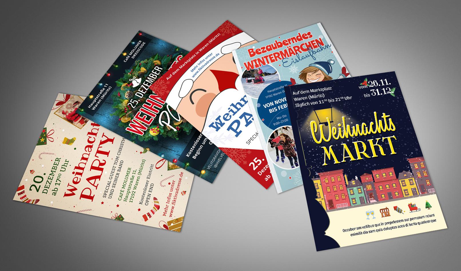 5 Vorlagen für Weihnachten: Weihnachtsplakate und Weihnachtsflyer