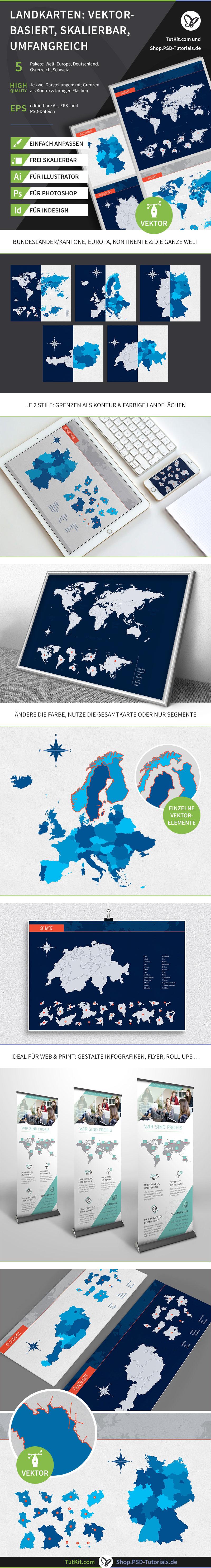Das Paket enthält Landkarten von Europa, Deutschland, Schweiz, Österreich und der Welt