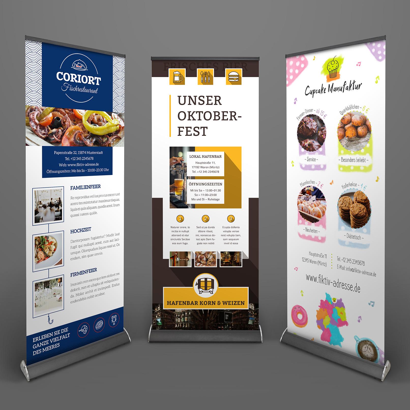 Roll-up-Design-Vorlagen zum Gestalten für Ernährung und Food