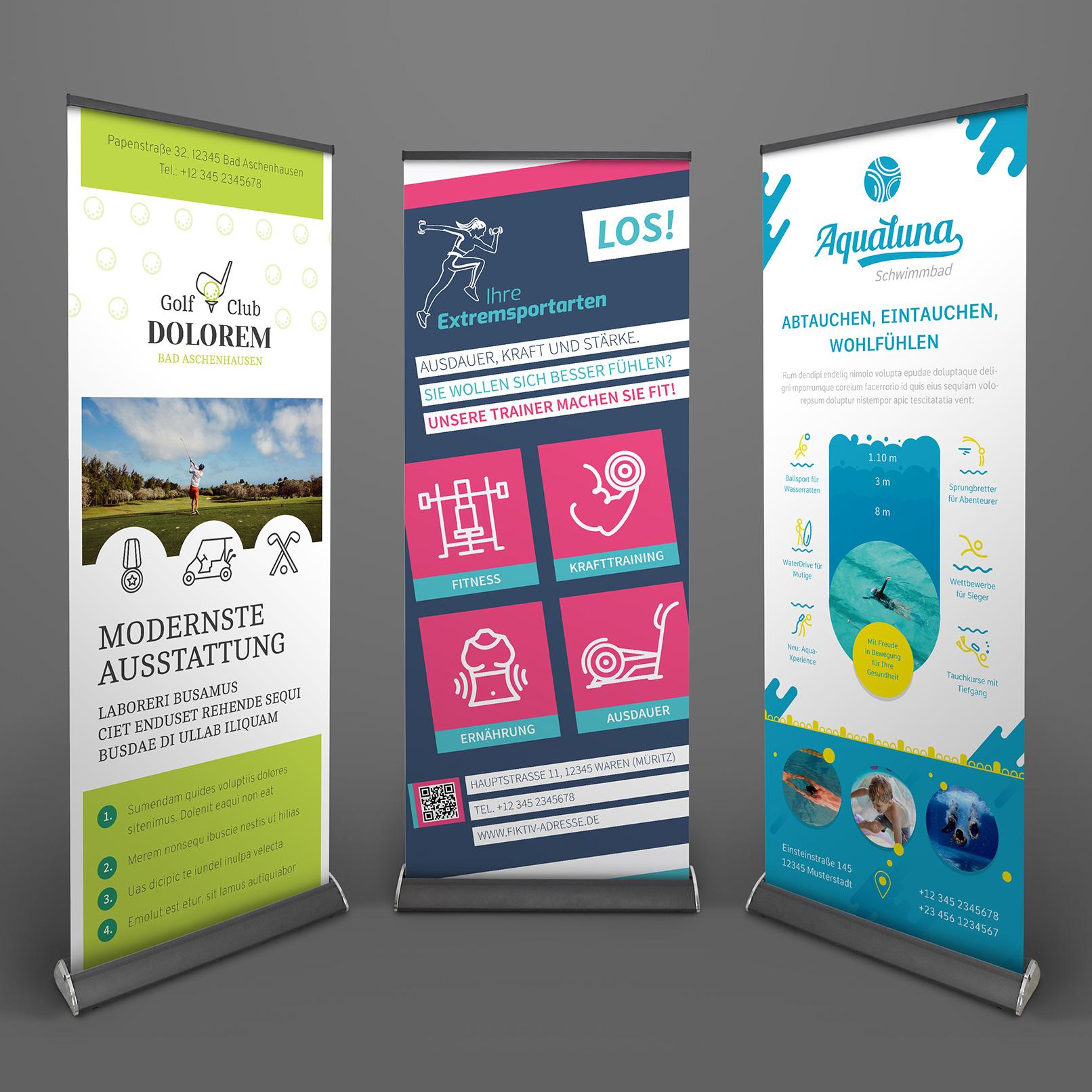 Roll-up-Design-Vorlagen zum Gestalten für Sport und Bewegung