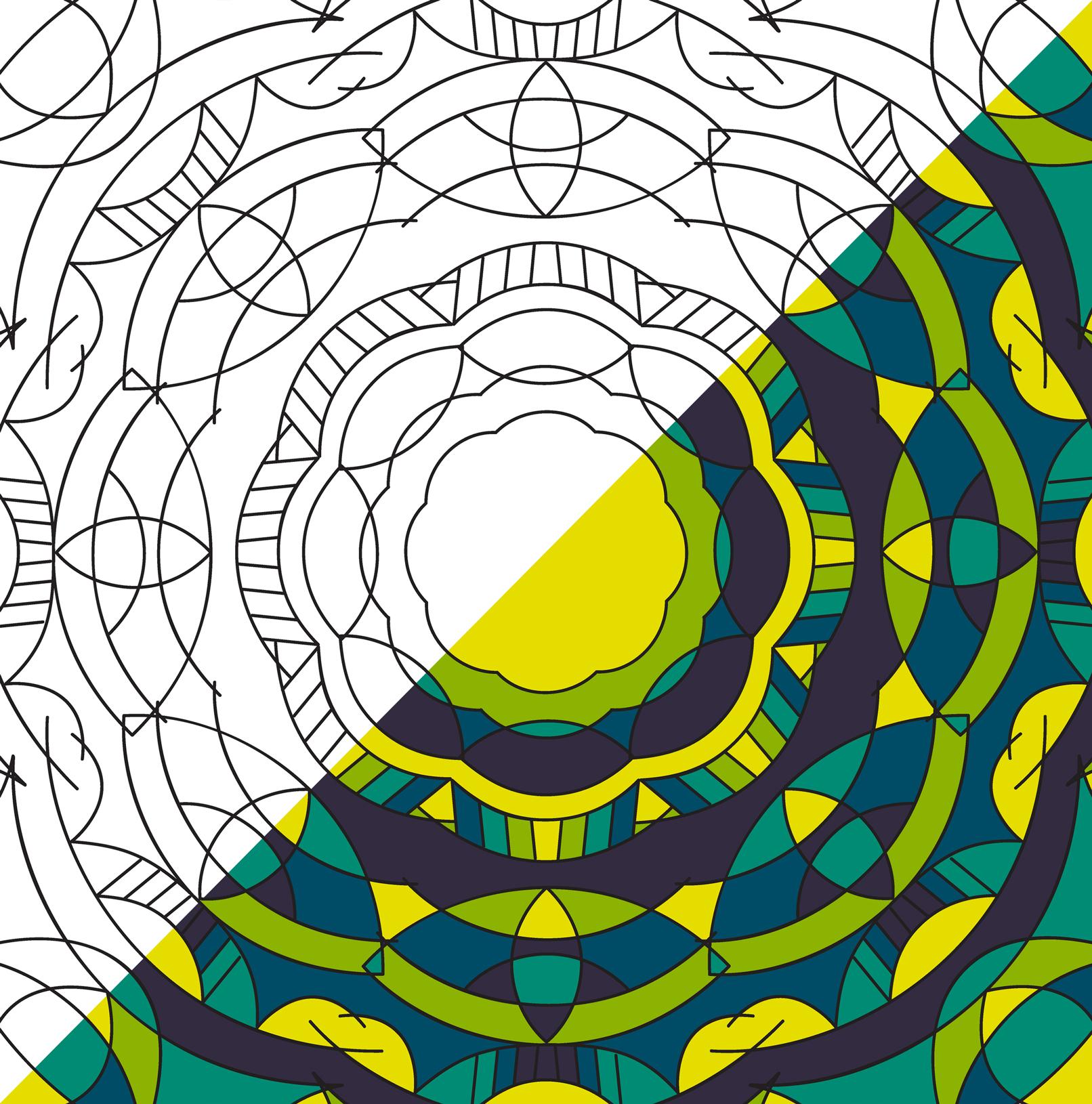 Mandala-Vorlagen und -Bilder in Schwarz-Weiß und Farbe