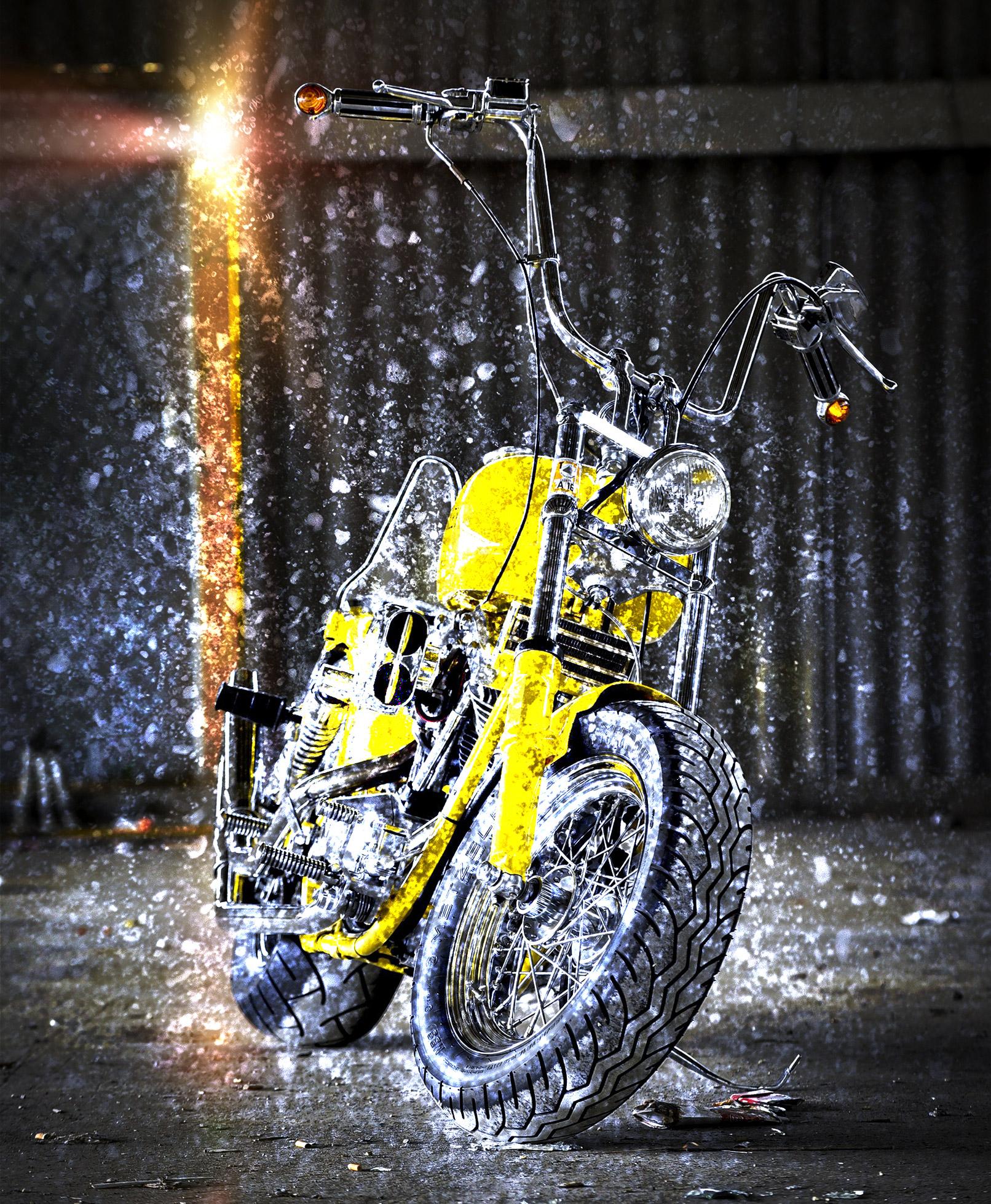 Bild von Motorrad, überlagert mit Mauer-Textur