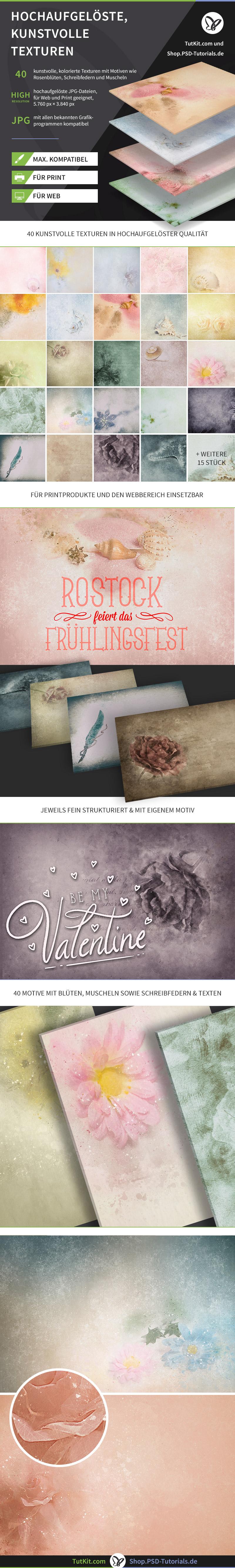 Überblick zum Paket Schöne, kunstvolle Hintergrundbilder: Muschel- und Rosen-Bilder