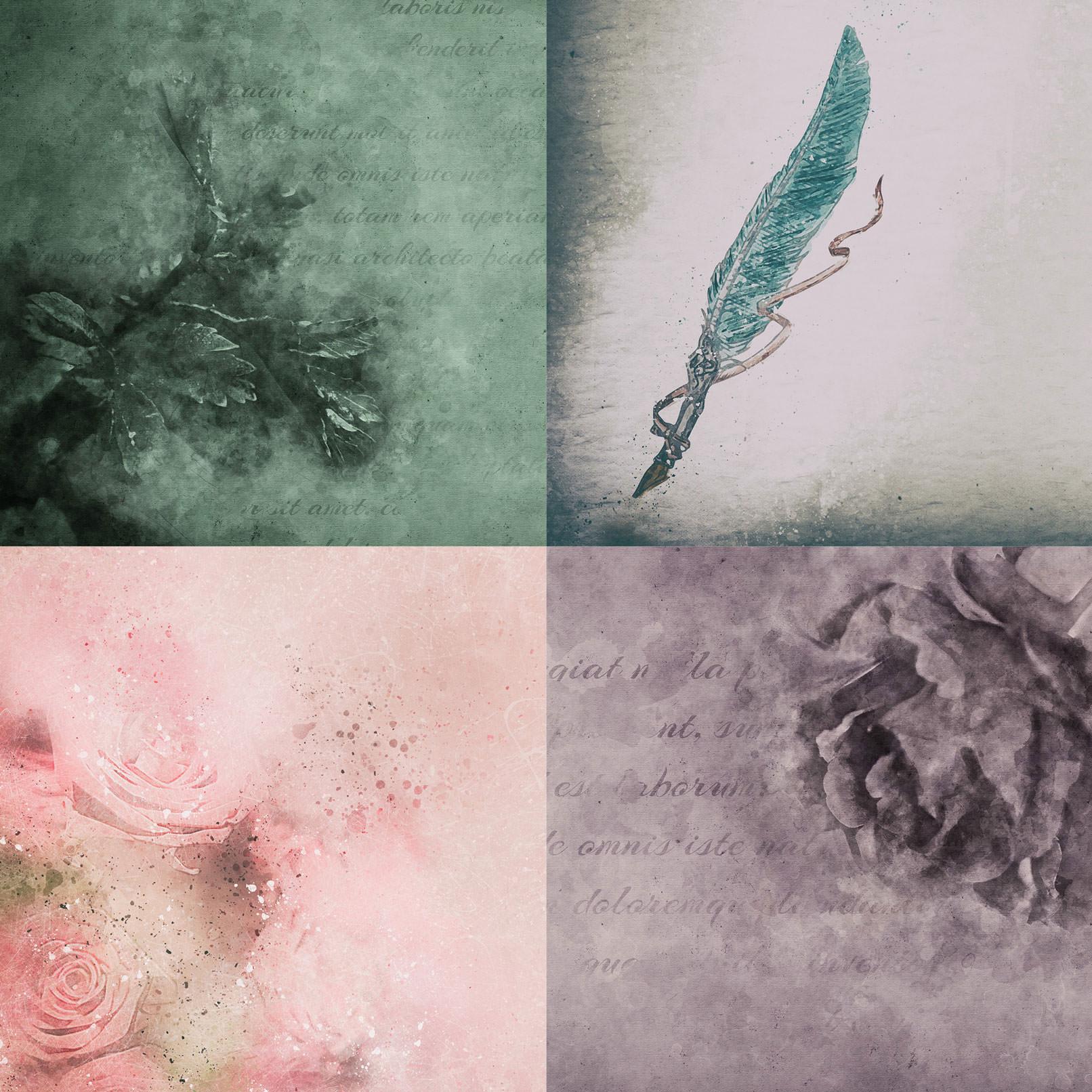 Hintergrundbilder mit Zeichenfedern und Rosen