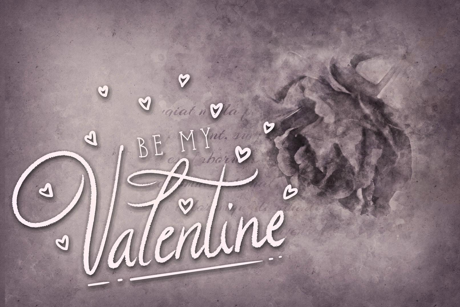 Gruß zum Valentinstag mit einem Hintergrundbild mit einer Rose
