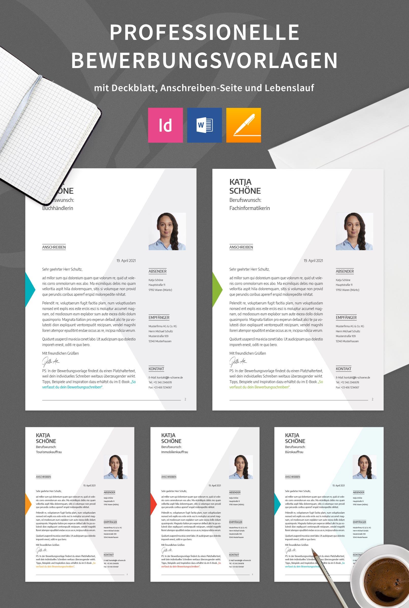 Bewerbungsvorlagen zur Bewerbung um eine Ausbildung in fünf Farbvarianten, Anschreiben-Seiten