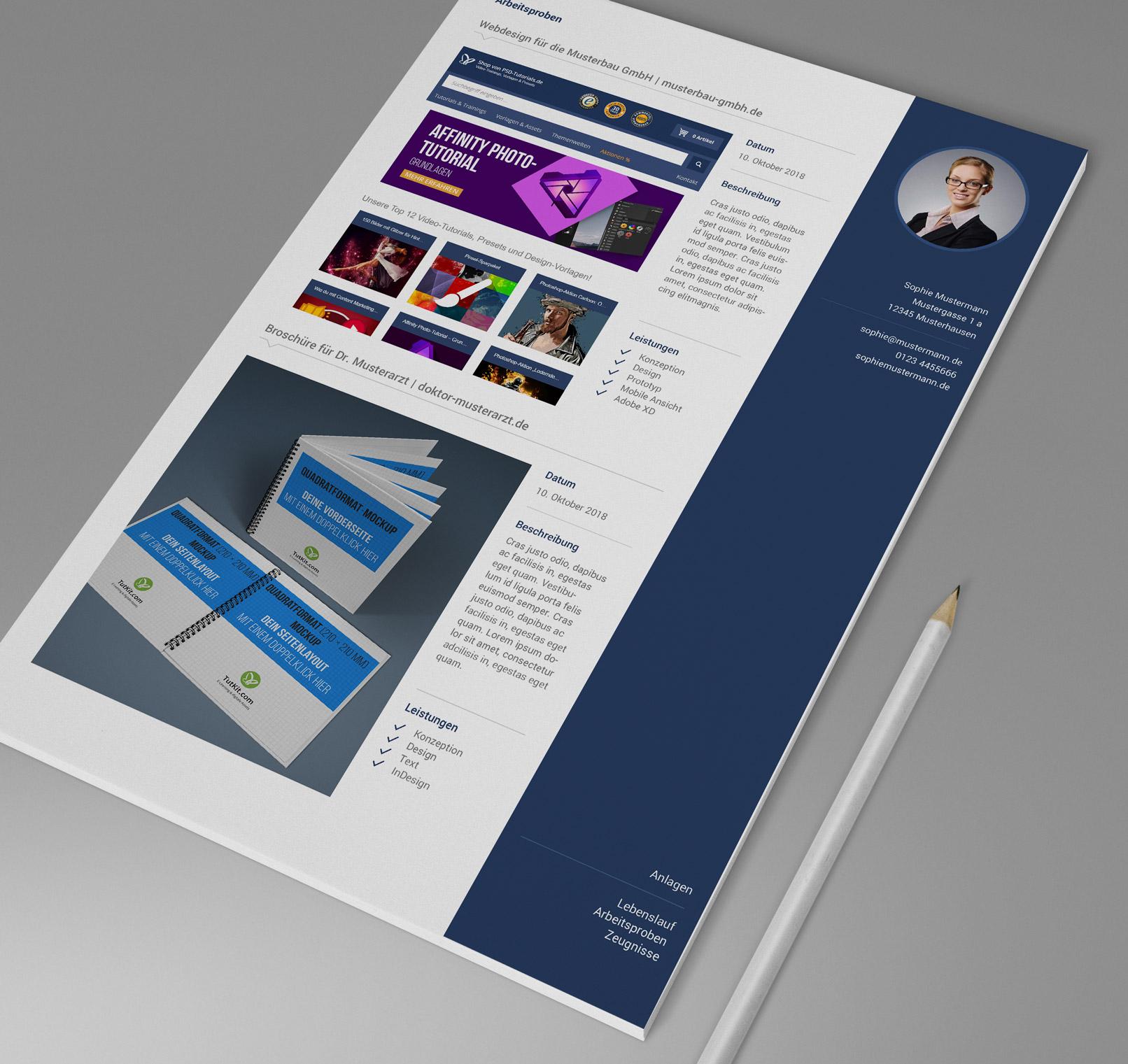 Design-Muster, Vorlage für Bewerbung als Mediengestalter