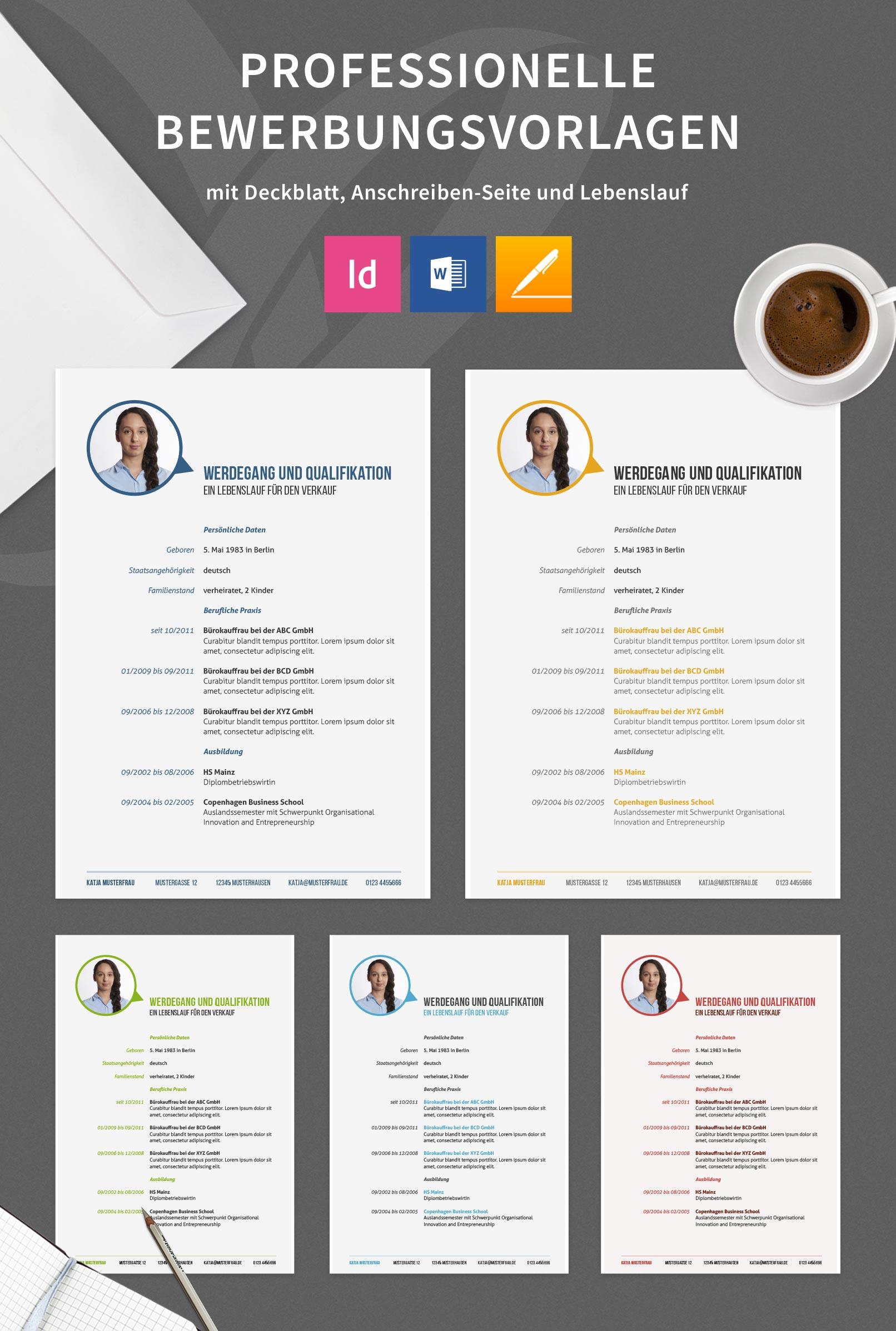 Design-Muster zur Bewerbung als Bürokauffrau, Bürokaufmann, Lebenslauf in 5 Farbvarianten