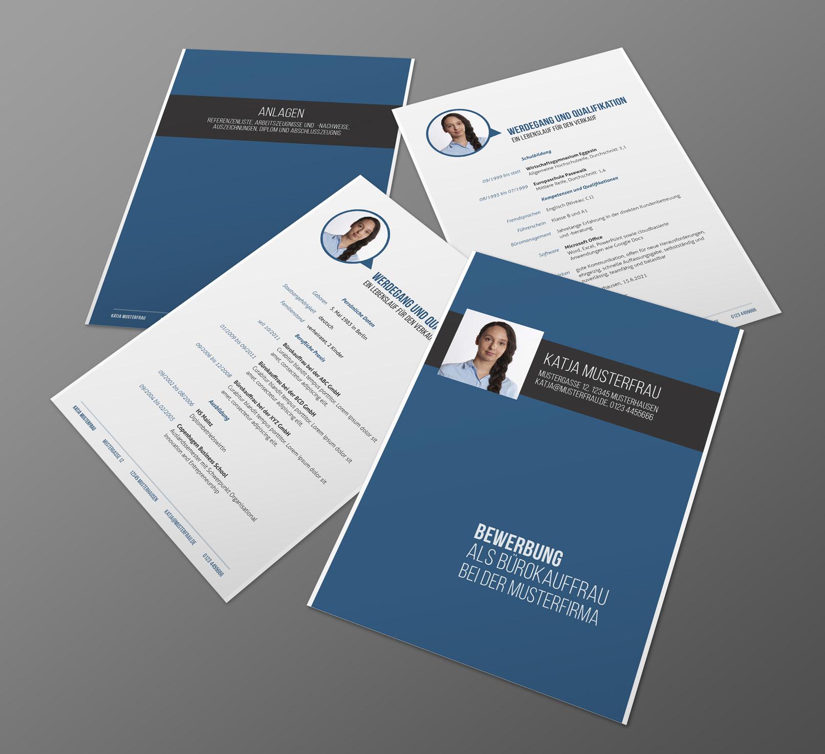 Design-Muster zur Bewerbung als Bürokauffrau, Bürokaufmann, Deckblatt, Lebenslauf, Anlagen, Anschreiben