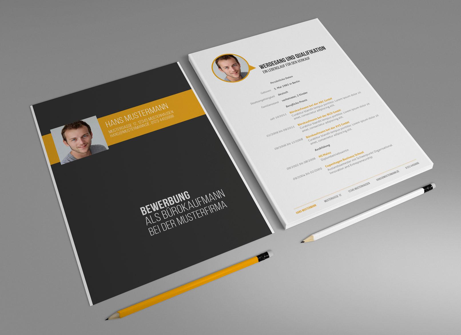 Design-Muster zur Bewerbung als Bürokauffrau, Bürokaufmann, Deckblatt und Lebenslauf in Gelb