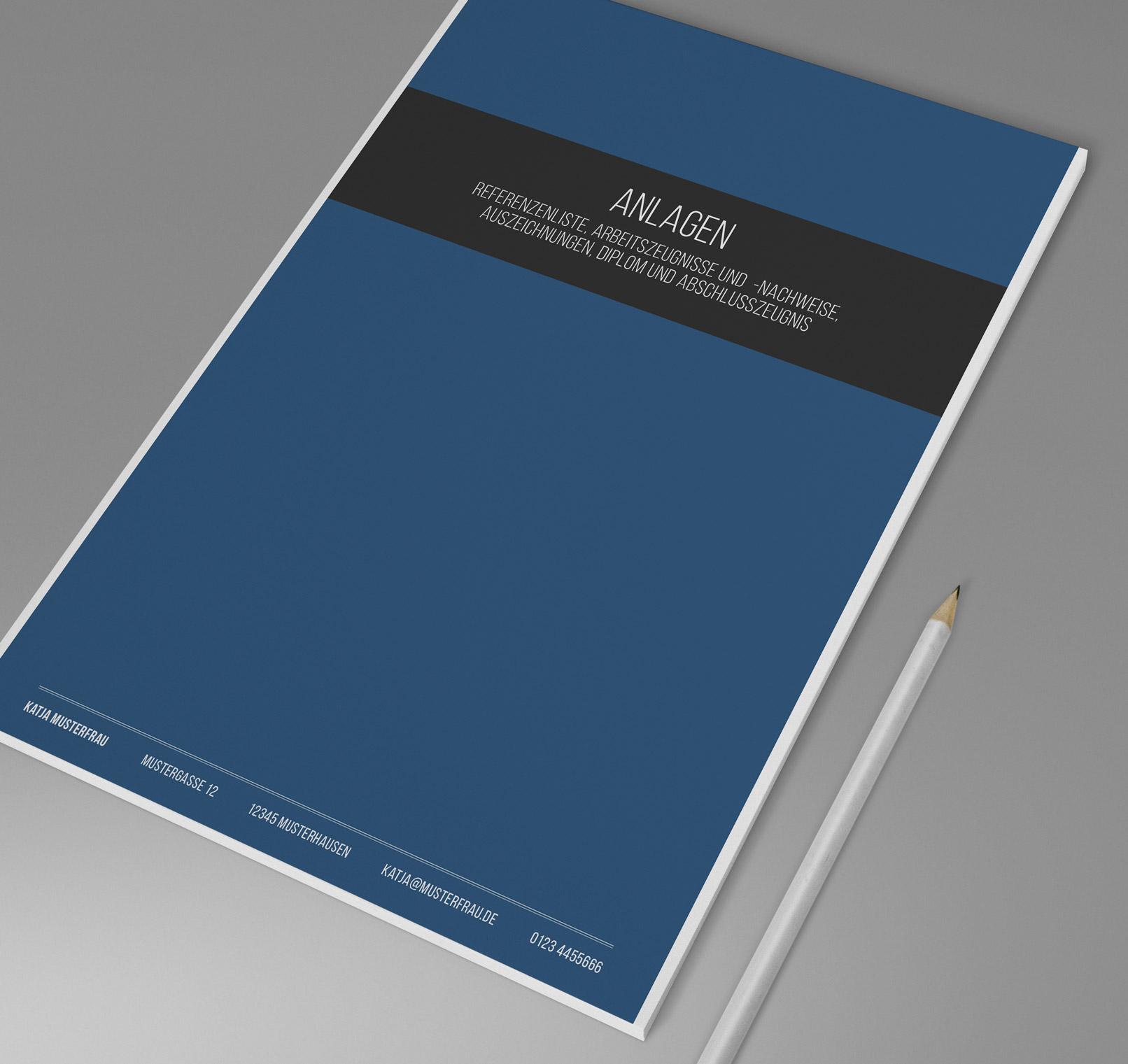Design-Muster zur Bewerbung als Bürokauffrau, Bürokaufmann, Anlagen-Seite in Blau
