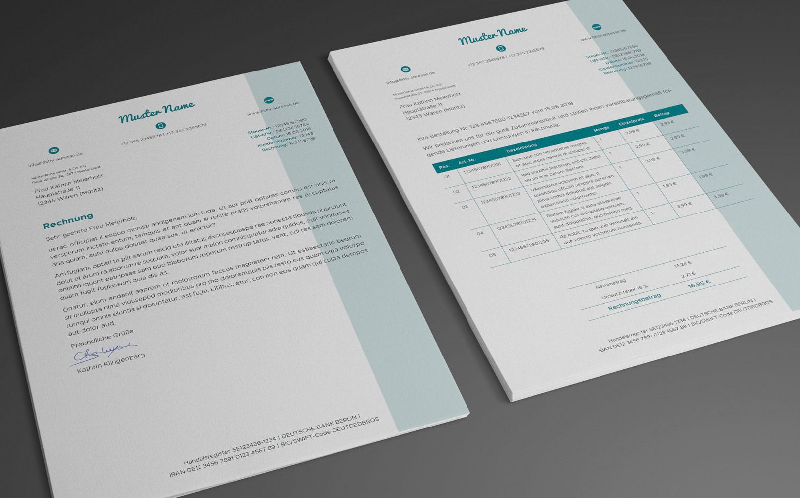 Anschreiben und Rechnungsvorlage in Blau
