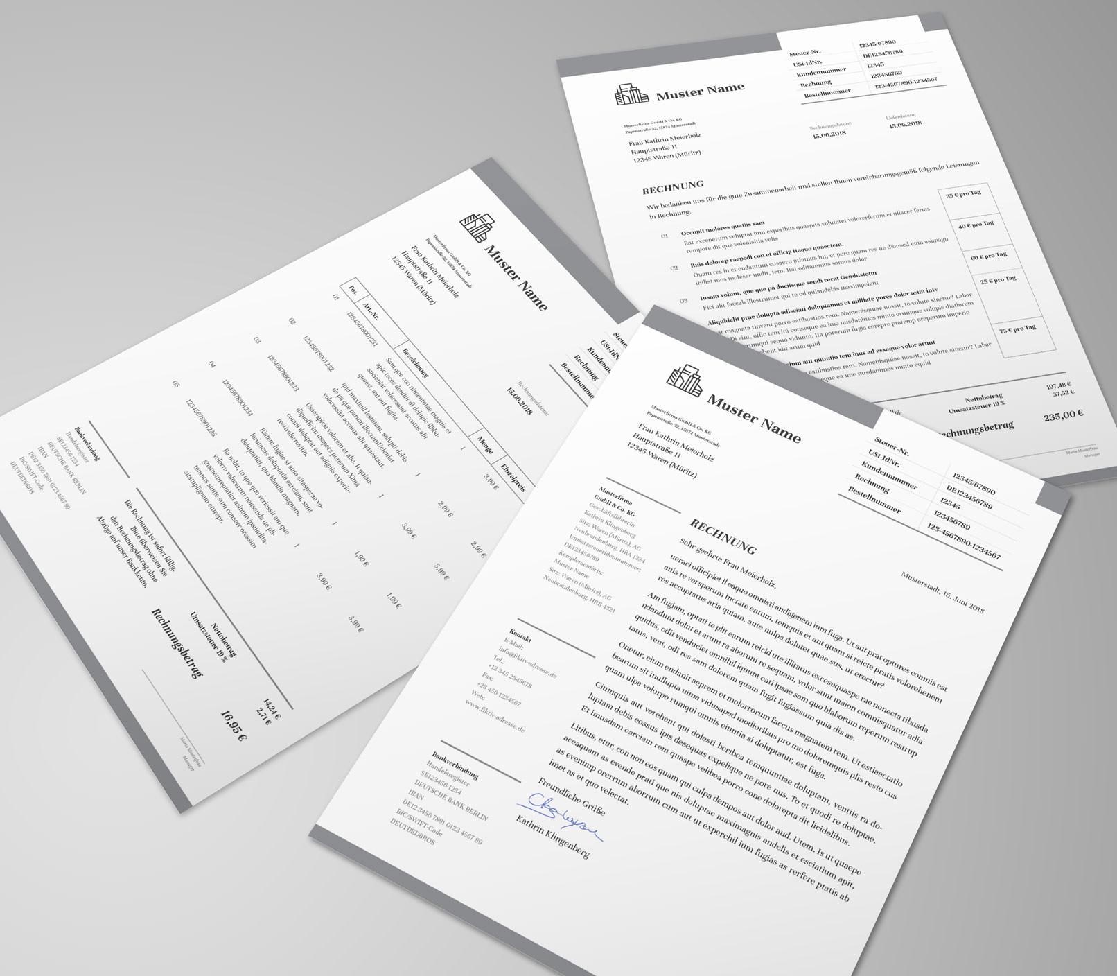 Rechnungsvorlage, Angebot und Lieferschein in Grau