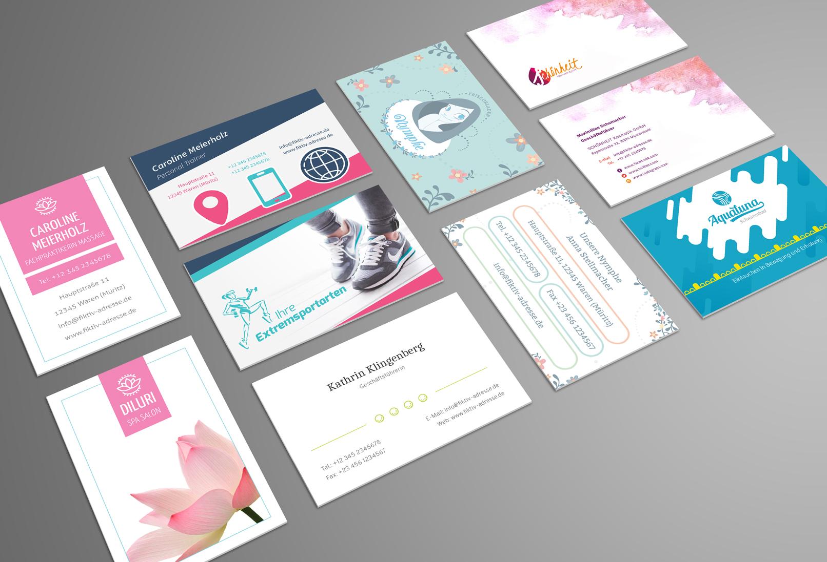 Verschiedene Designs für Visitenkarten