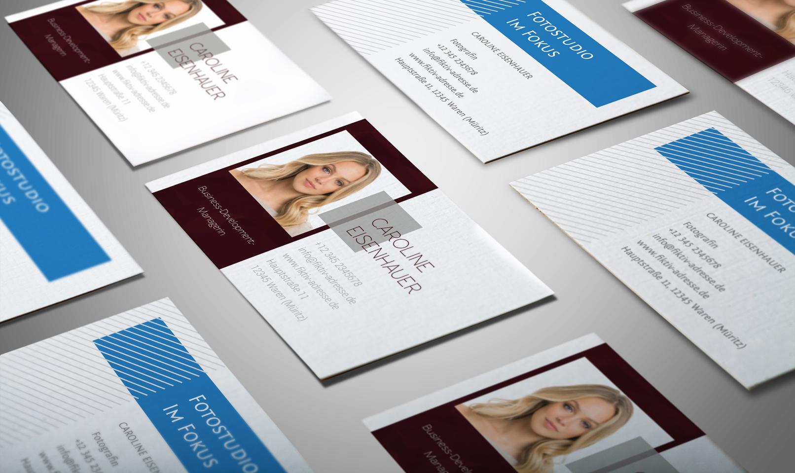Beispiele der Design-Vorlagen für Visitenkarten