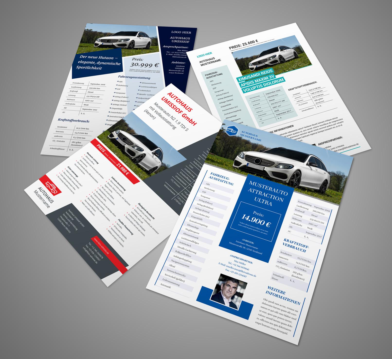 Design-Vorlagen für Auto-Exposés im A4-Hochformat
