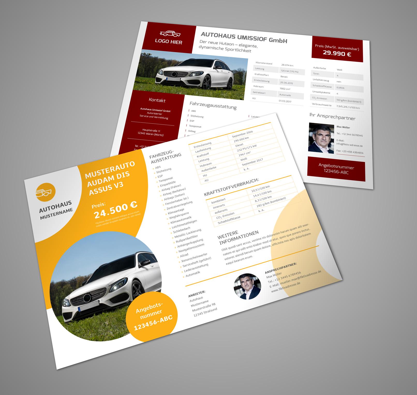 Design-Vorlagen für Fahrzeug-Exposés im A4-Querformat