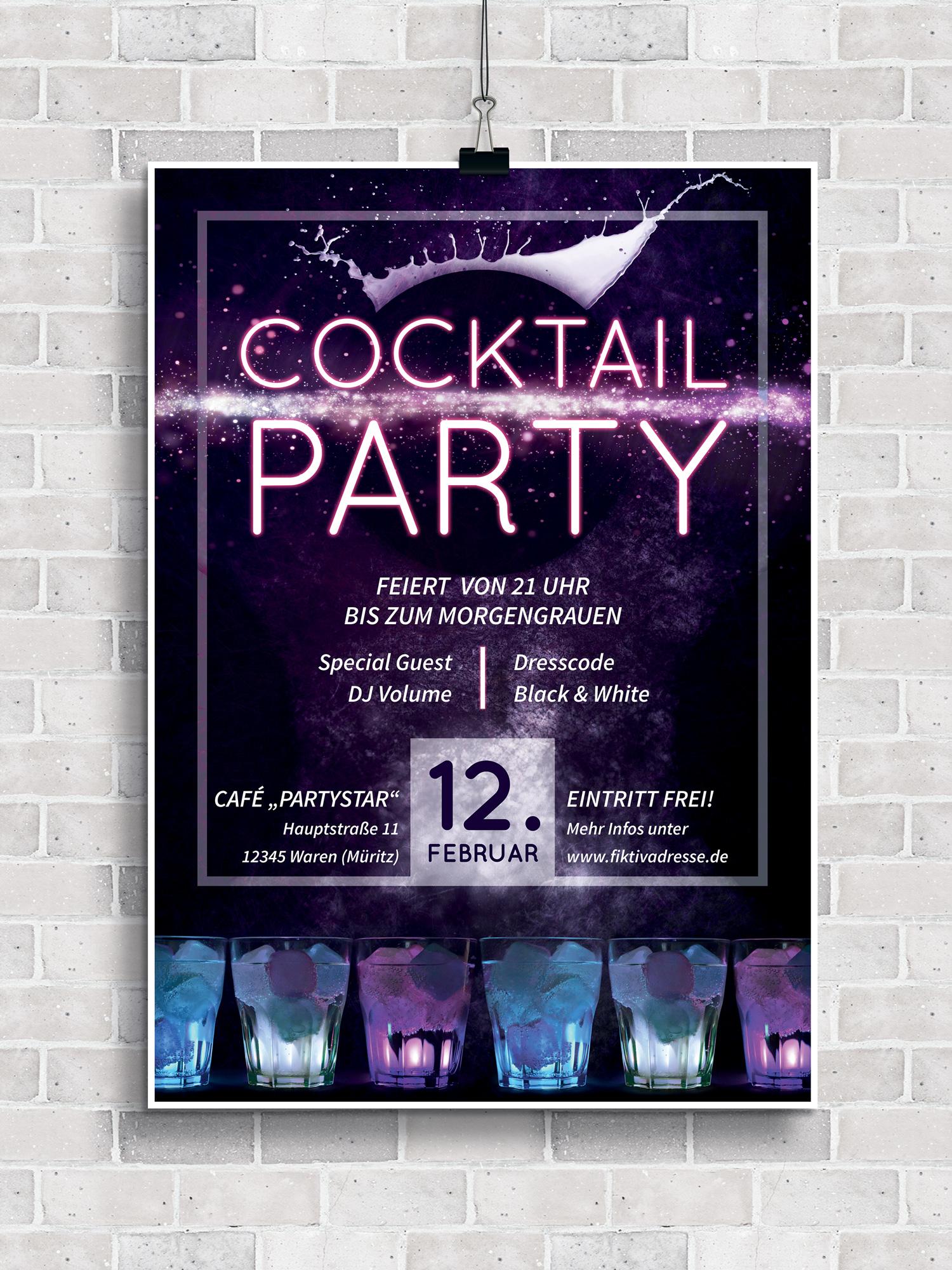 Poster, Flyer und Plakate für die nächste Cocktailparty