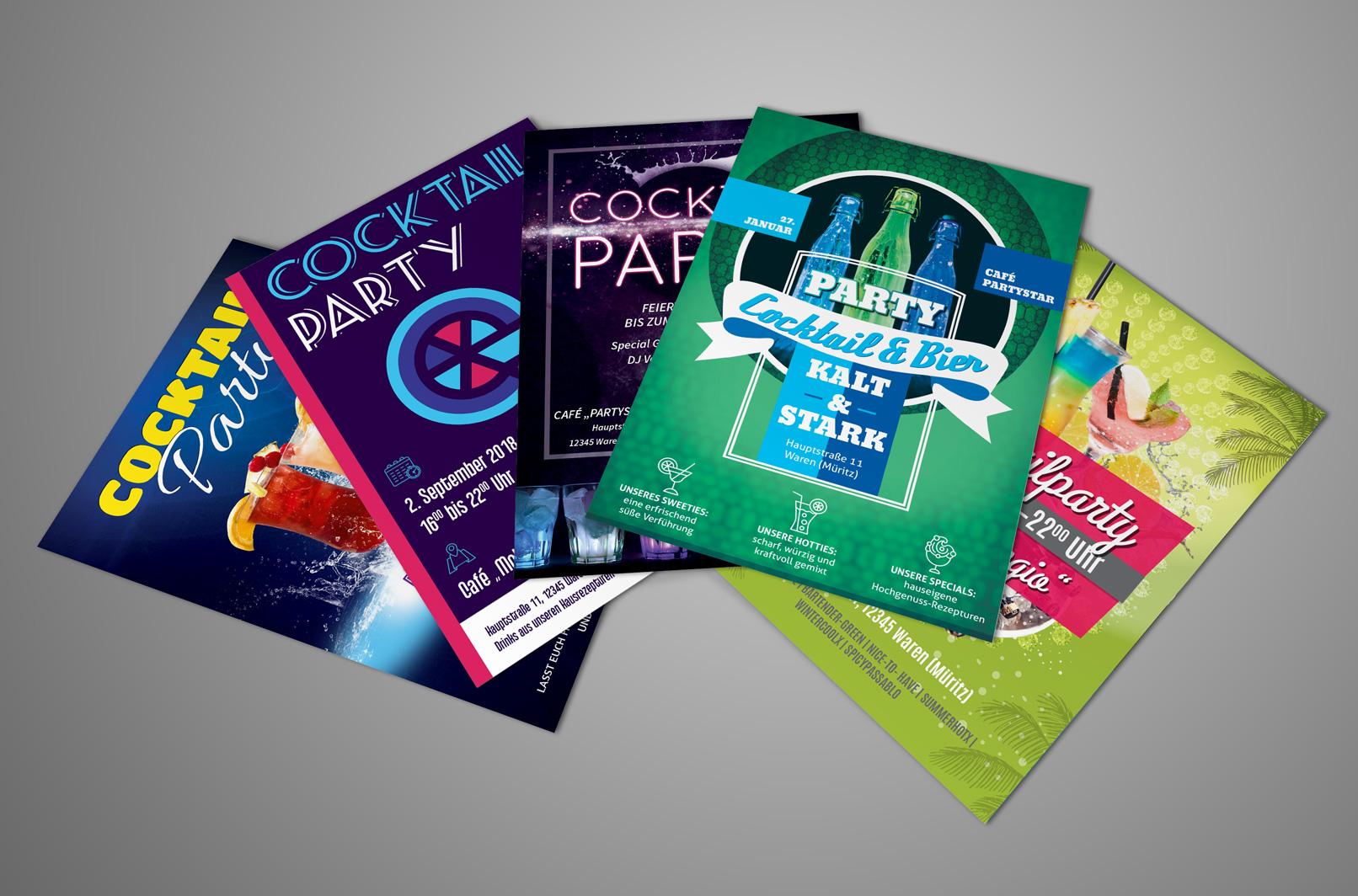 Vorlagen für Poster, Flyer und Plakate für Cocktailpartys