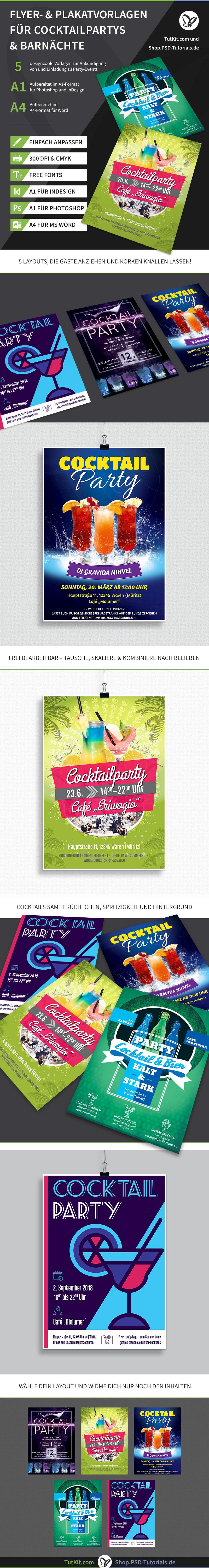 Überblick über die Plakat- und Flyer-Vorlagen zum Thema Cocktailpartys und Barnächte