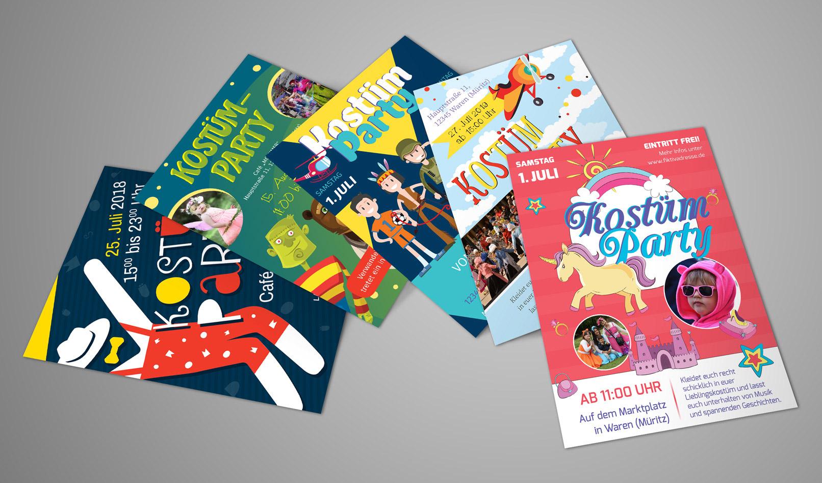 5 Plakate und Flyer zur Einladung zu Kinderfest und Kinderfasching