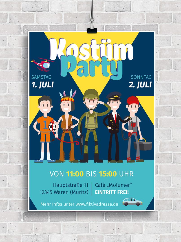 Plakat bzw. Flyer zur Einladung zu einer Kostümparty