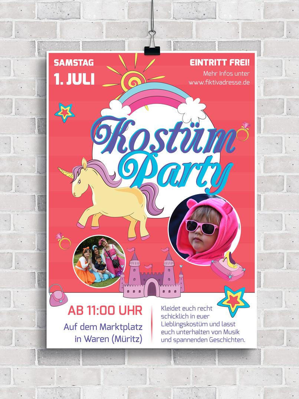 Plakat bzw. Flyer zur Einladung zum Kinderfasching