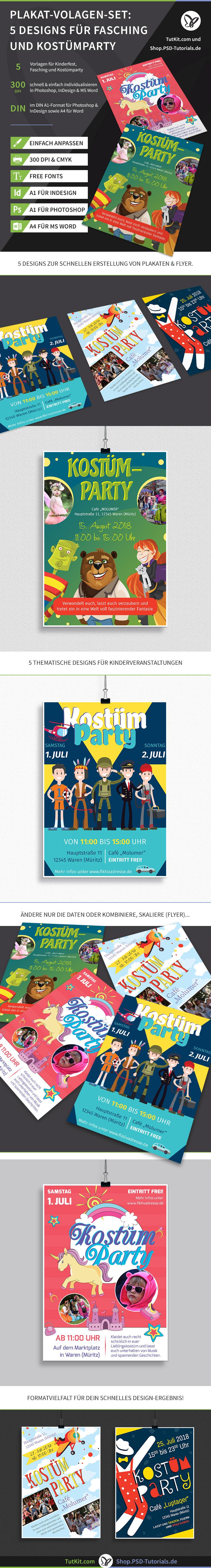 Überblick über die Plakat- und Flyer-Vorlagen für Kinderfest und Kinderfasching