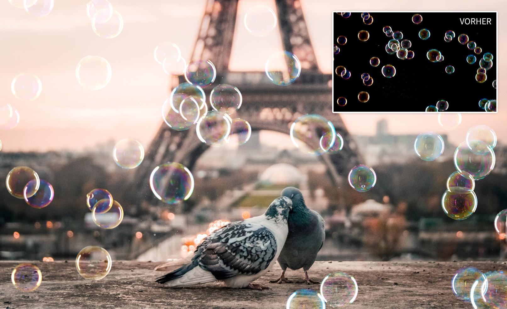 Tauben am Eiffelturm, eingearbeitete Seifenblasen