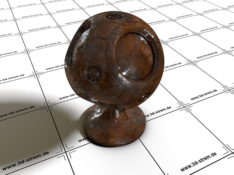 3D-Objekt mit einem Shader für Rost.
