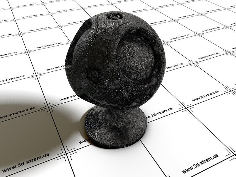 3D-Objekt aus Cinema 4D mit einem Shader zur Erzeugung metallischer Oberflächen.