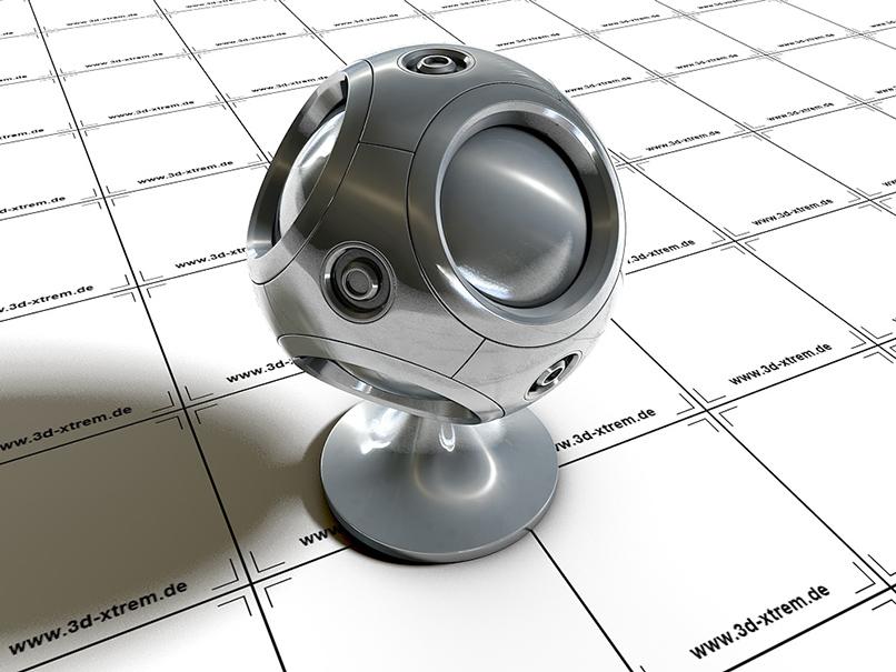 Silber-Shader zur Anwendung in Cinema 4D, gezeigt an einem beispielhaften 3D-Objekt.