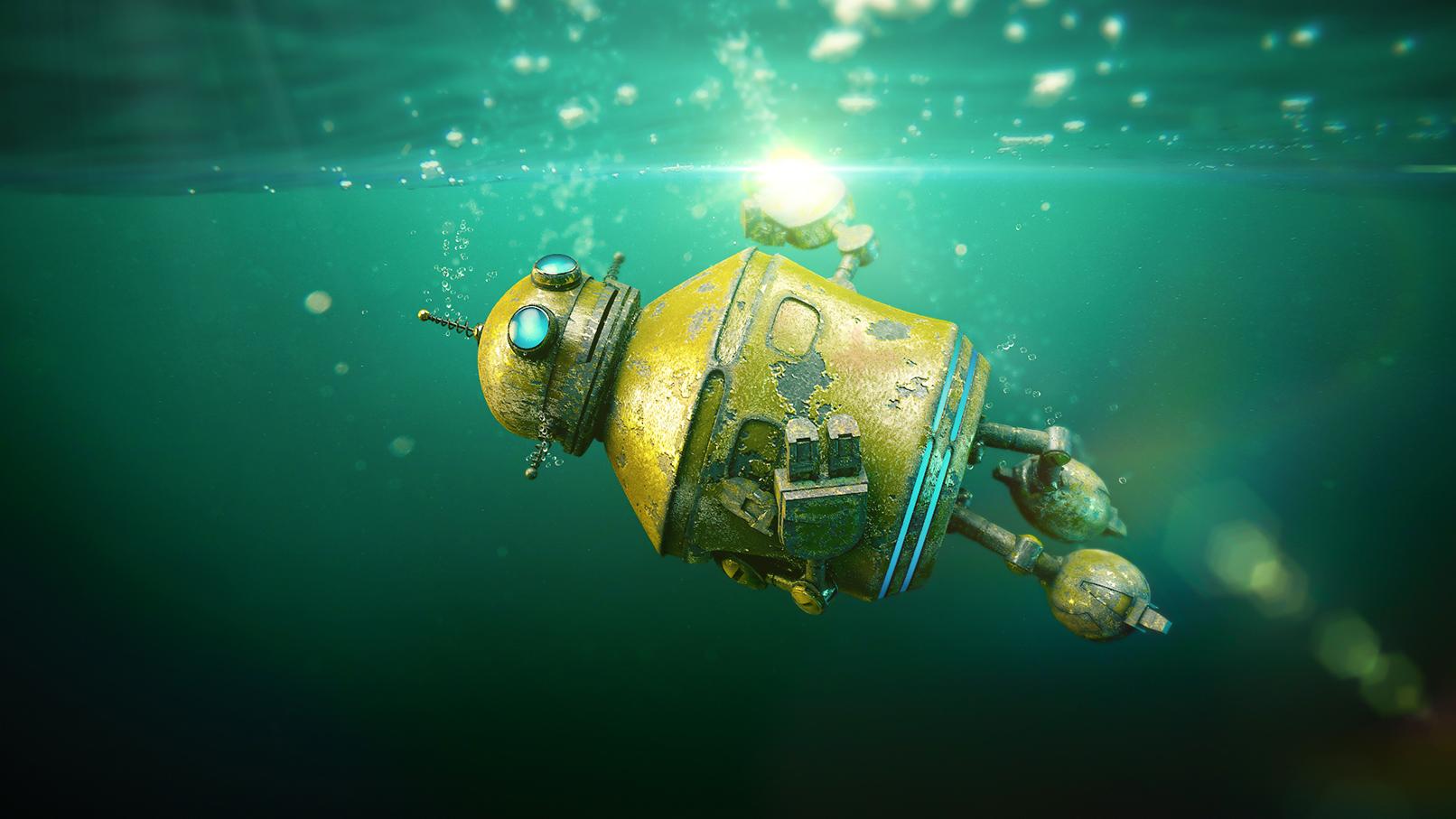 Roboter unter Wasser, zeigt Anwendung eines Metall-Shaders in einer Szene.