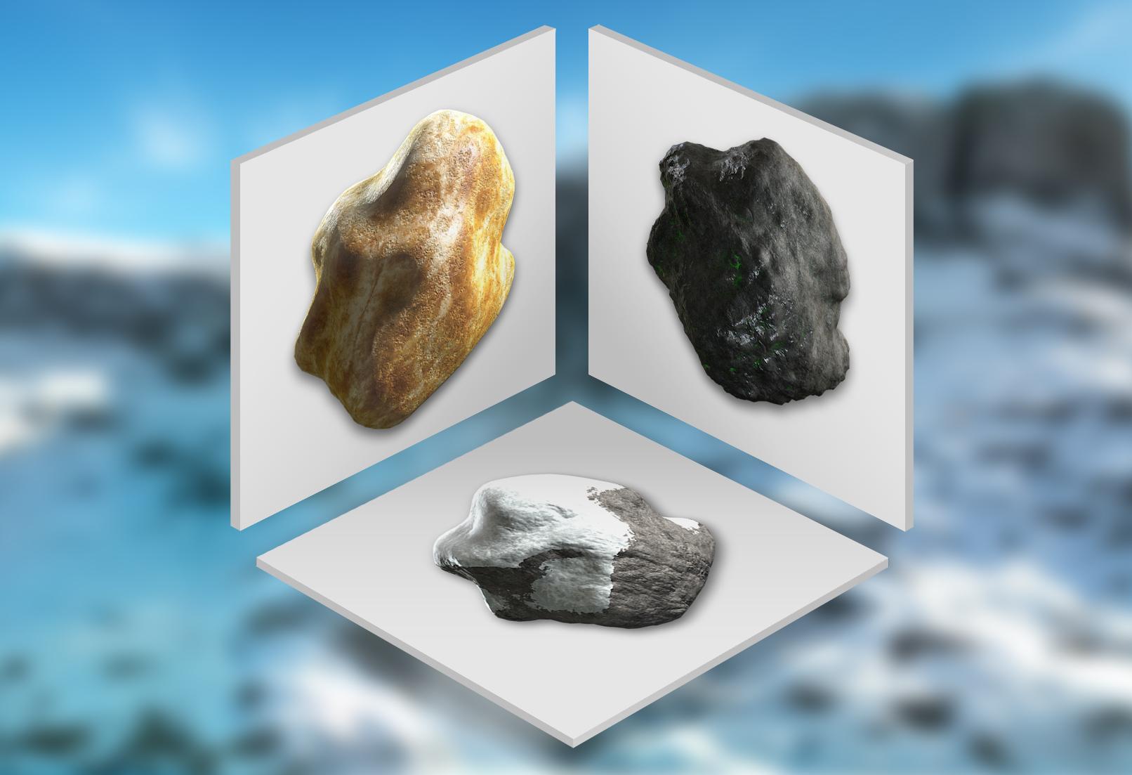 Shader für Cinema 4D zur Darstellung fotorealistischer Felsen, Steine und Berge.