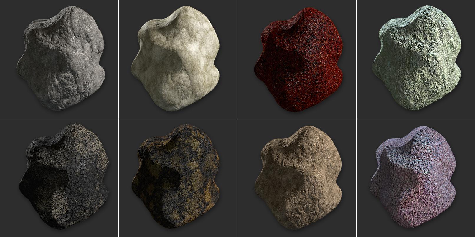 C4D-Texturen mit Stein- und Felsoberflächen zur Erstellung fotorealistischer Landschaften.