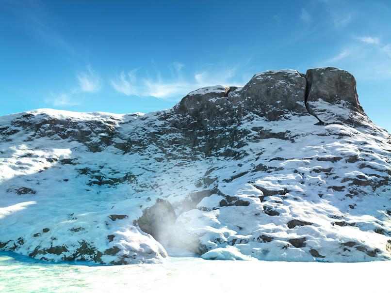 Schneebedeckter Berg, ein Beispiel zur Anwendung der Cinema 4D-Texturen.