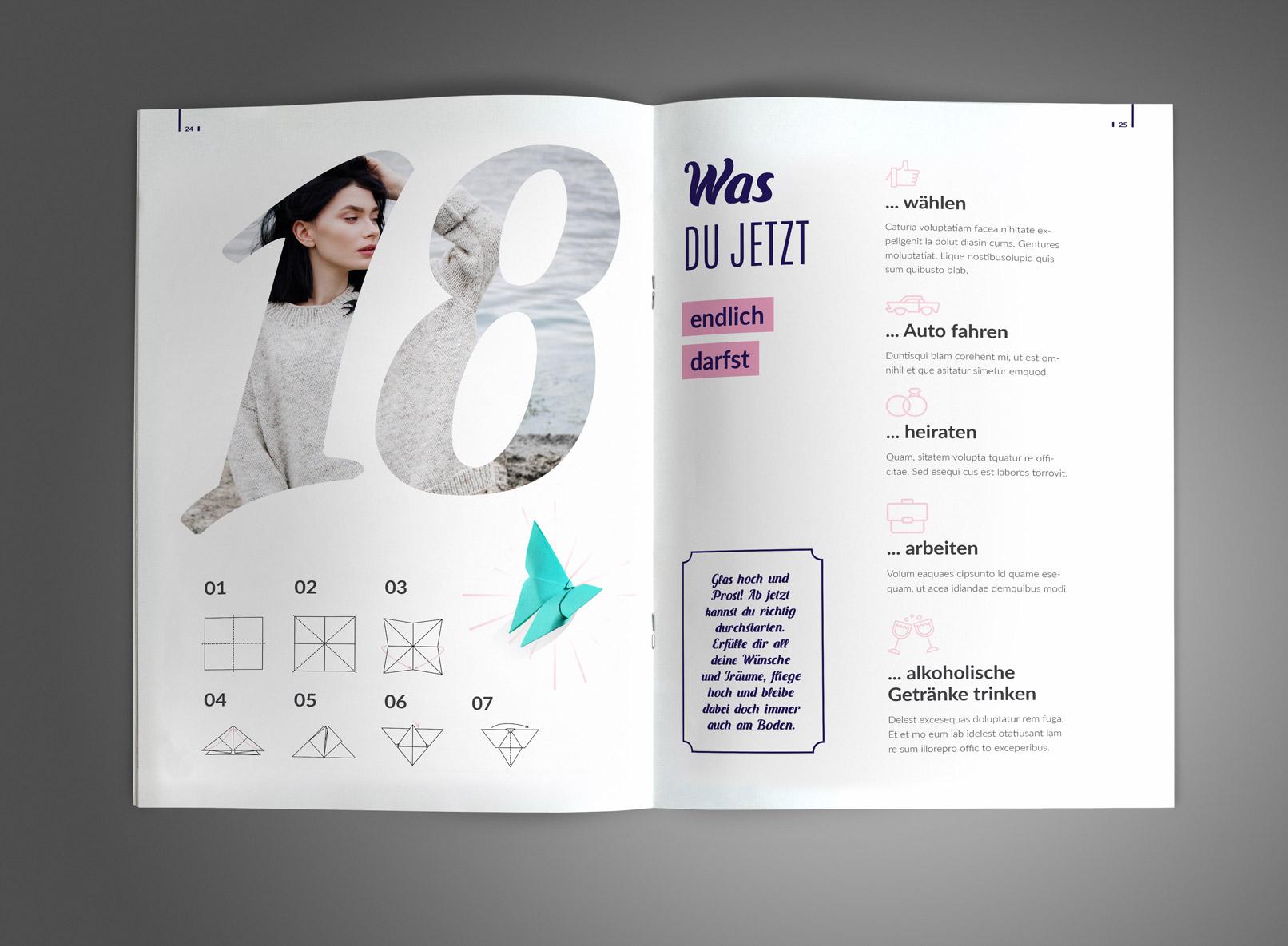 Beispielseiten der Vorlage zur Gestaltung einer Geburtstagszeitung