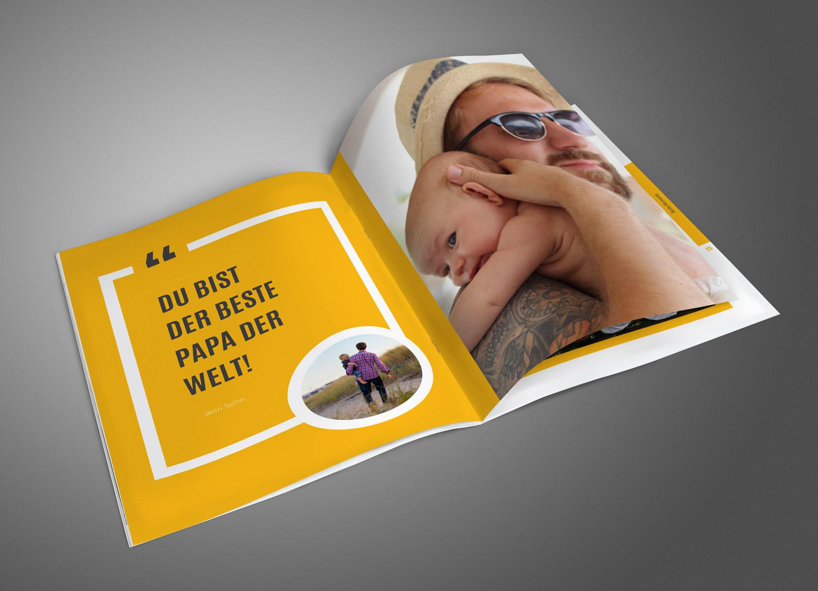 Geburtstagszeitung – Auszüge aus der Vorlage mit großem Foto- und Zitatbereich