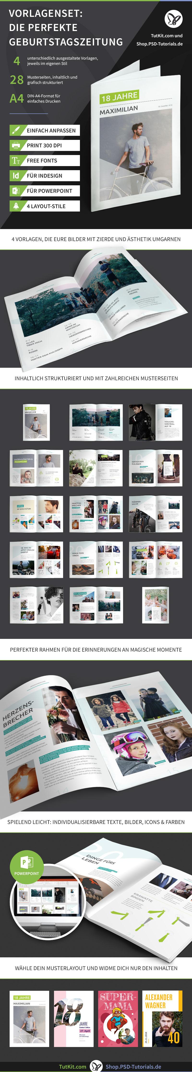 Überblick über die Vorlagen für Geburtstagszeitungen