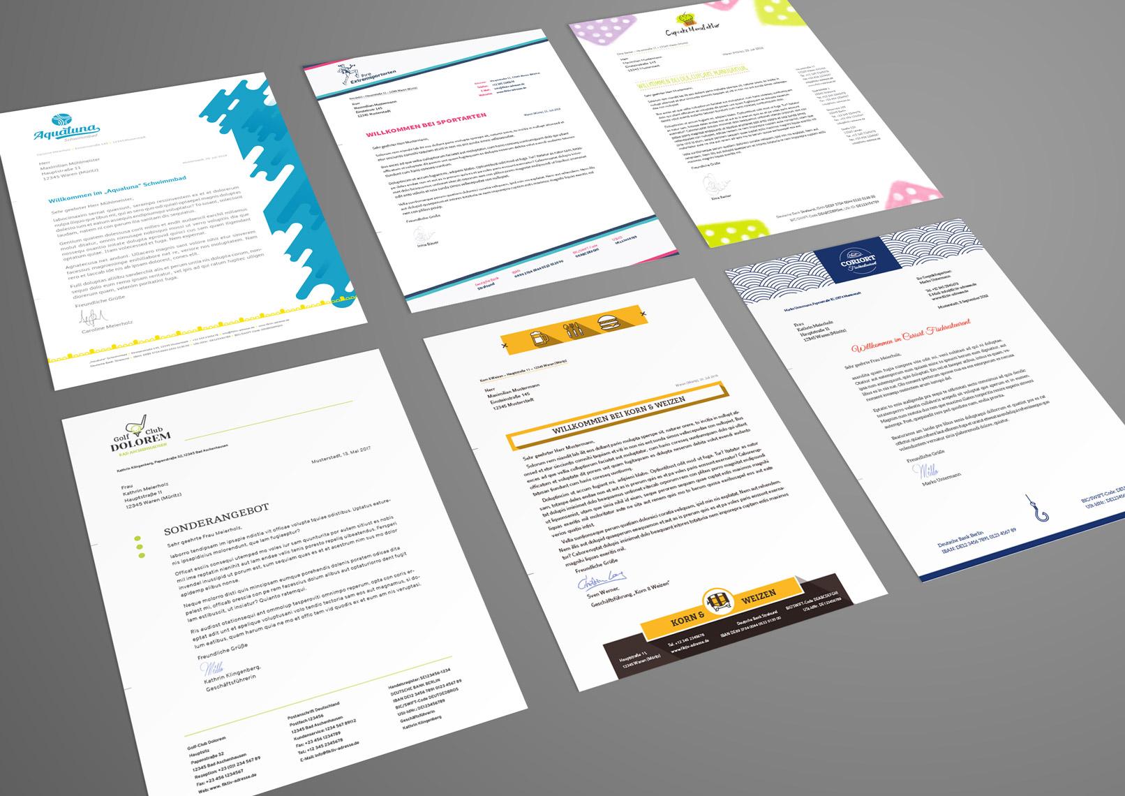 6 Anschreiben-Seiten, die in dem Paket für Briefpapiere enthalten sind