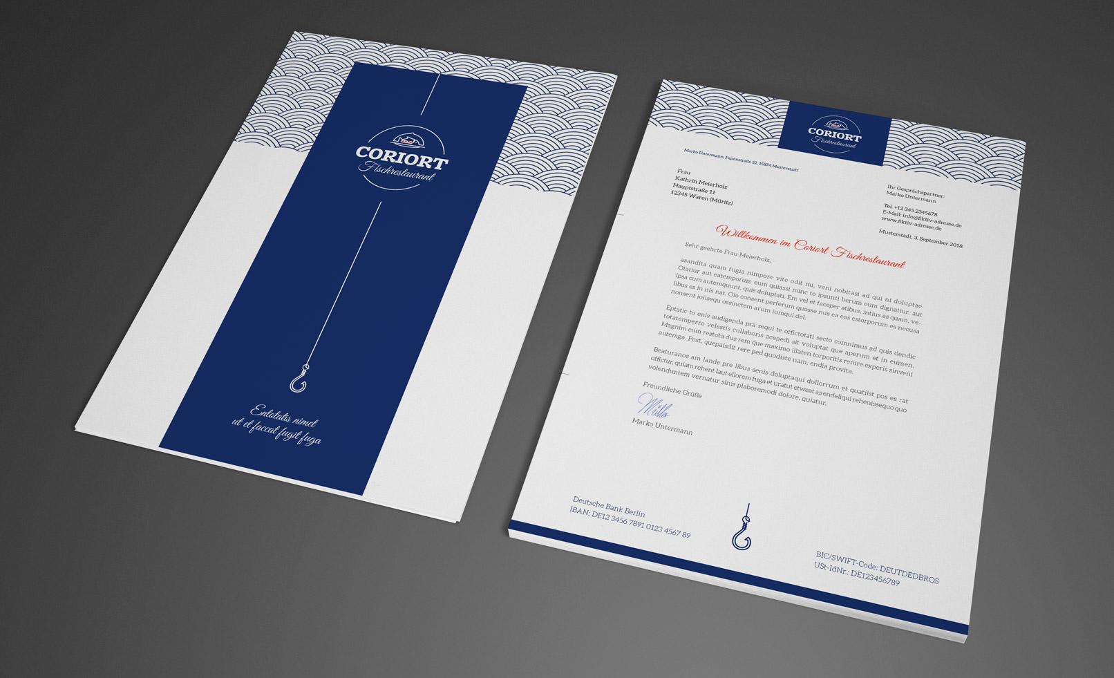 Darstellung eines Briefbogens mit Vorder- und Rückseite für Restaurants