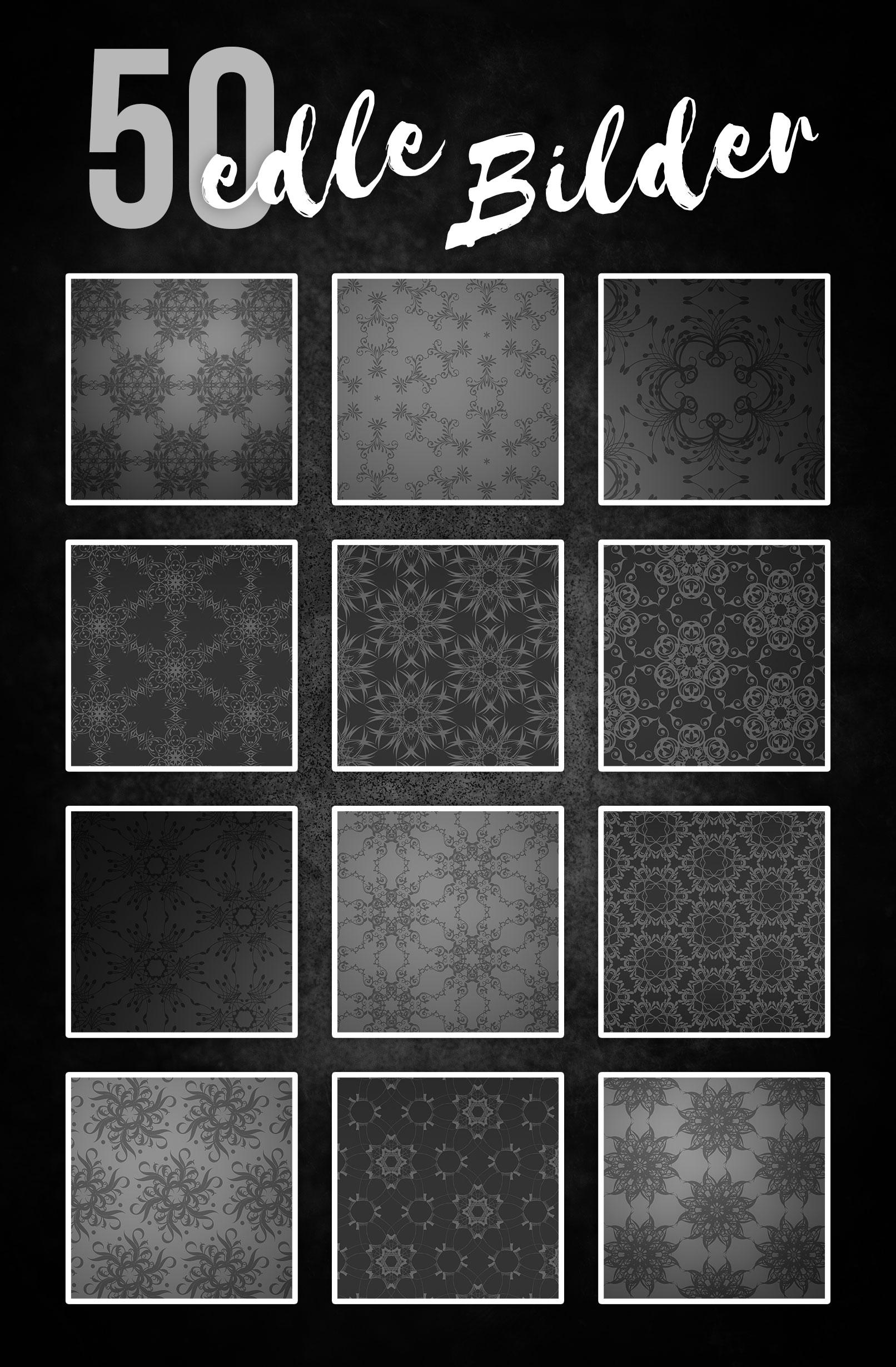 Beispiele mit Schwarz-Weiß-Hintergründen, versehen mit Ornamenten