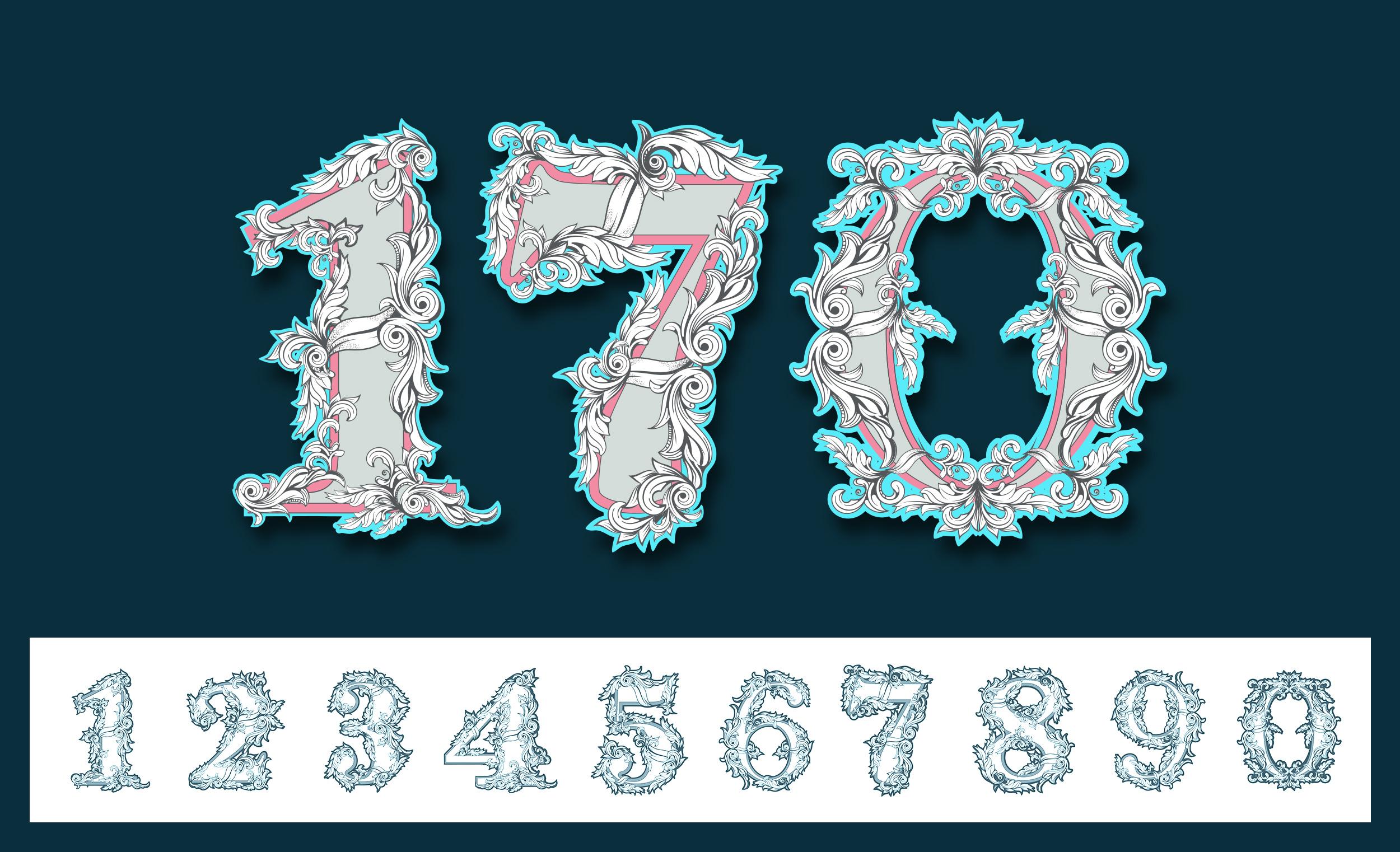 Beispiel zur Verwendung der Zahlen-Vorlagen: Verzierte Ziffern für Geburtstagszahlen und Jubiläumszahlen