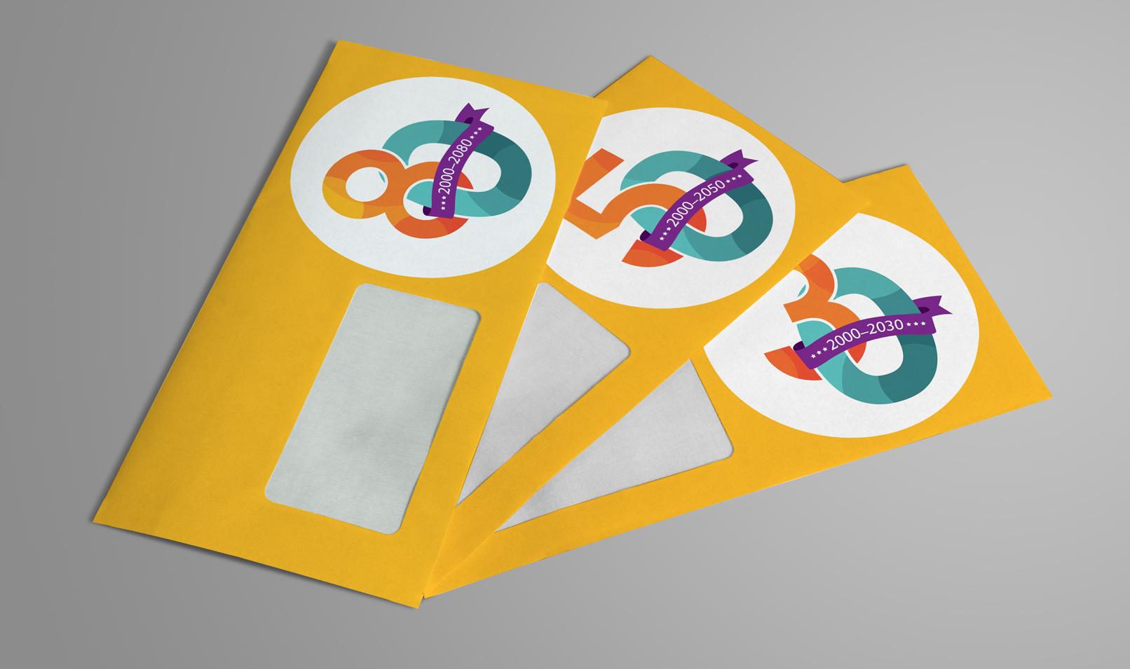 Beispiel zur Verwendung der Zahlen-Vorlagen: Briefumschlag mit der Zahl 80