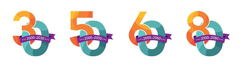 Illustrative Zahlen-Vorlagen (30, 50, 60, 80) für Geburtstag & Jubiläum