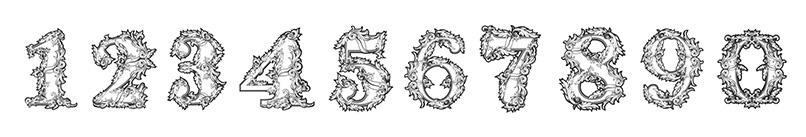 Verzierte Zahlen-Vorlagen für Geburtstag & Jubiläum mit Ziffern von 0 bis 9