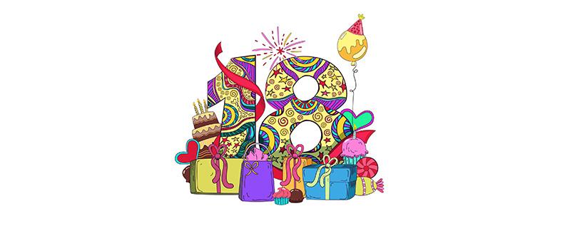 Festliche Zahlen-Vorlage (18) für Geburtstag & Jubiläum