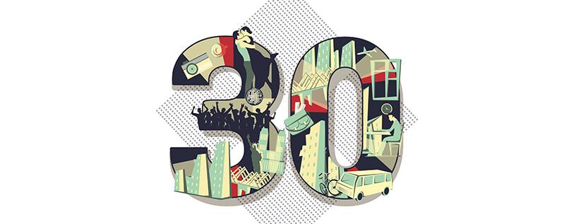 Zahlen-Vorlage (30) für Geburtstag & Jubiläum im Retro-Look