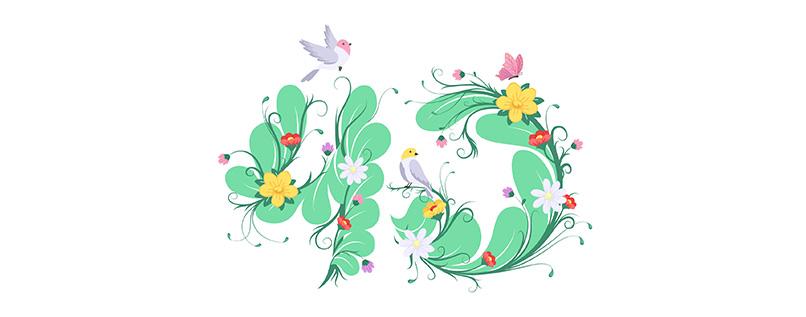 Zahlen-Vorlage (40) für Geburtstag & Jubiläum mit floralen Elementen