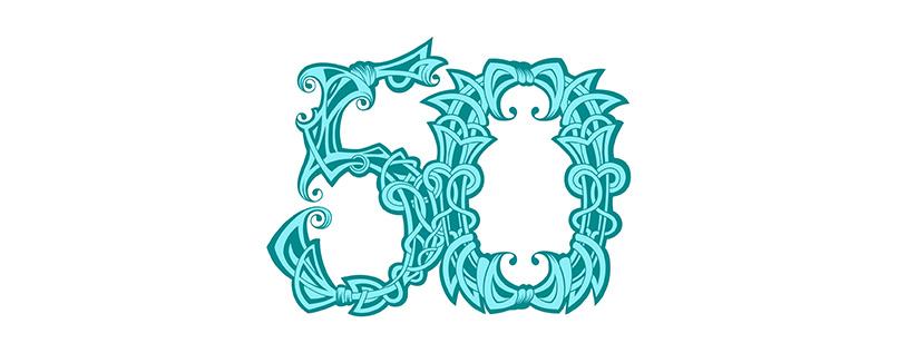 Zahlen-Vorlage (50) für Geburtstag & Jubiläum mit Ornamenten